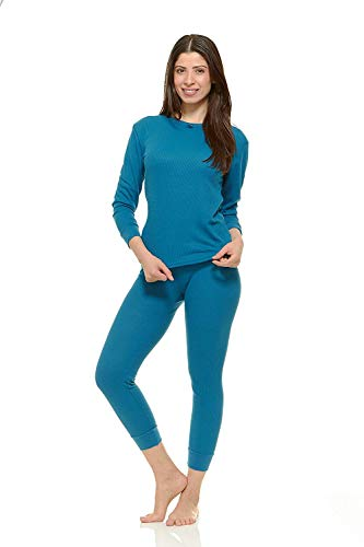 Womens 100% Cotton Light Weight Waffle Knit Thermal Top & Bottom Long John Underwear Set
