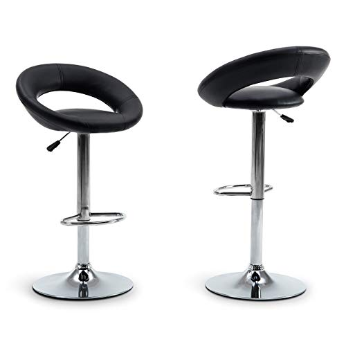 Belleze Bar Stool Pub Modern Adjustable Height Faux Leather Swivel Hydraulic, Set of (2) Black