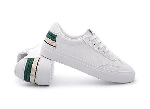 Chicas Alpargatas Koyi Zapatos Blancos Zapatillas Zapatos Estudiante Green Casual Bombas Primavera Mujer Planos Encaje xvUqrx