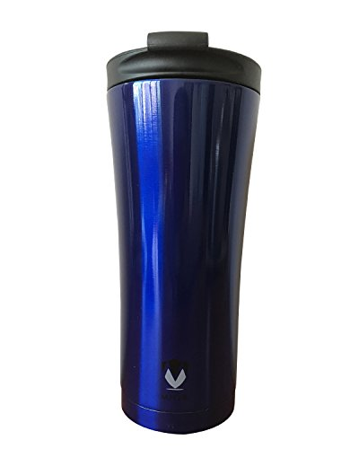Travel Ounce Tumbler 15 - Stylish modern tumbler double wall stainless steel vacuum travel mug – 15 ounces sweat-free coffee travel mug with non-spill lid (Blue)