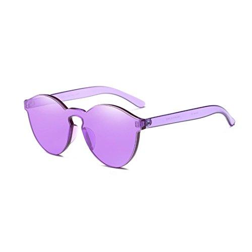 QingFan Fashion Round Vintage Cat Eye Mirrored Metal Frame Women Sunglasses (Purple, - Cheap Purple Sunglasses