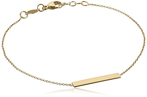 14k Gold Bar Adjustable Identification Bracelet, 7.5″