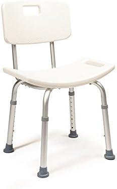 Silla Ducha con Respaldo extraible | Taburete de baño para Mayores Ortopédico de Ancianos antideslizante | Plegable Banqueta Resistente | Peso Máximo Soportado 120 kg