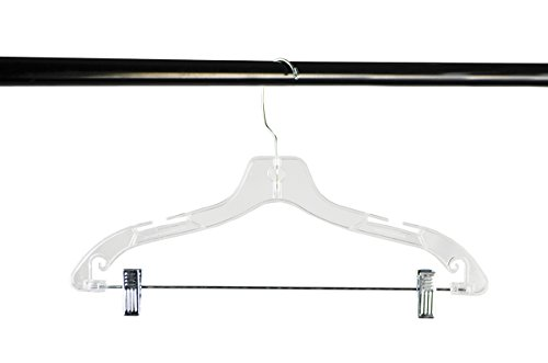 Shop72 - Clothing Hangers Crystal Clear Plastic Clothes Hanger For Skirts Slacks Pants Shirts Coat Suit with Clips Bulk Lot of Hangers Set - 17 Inch - Set of 12