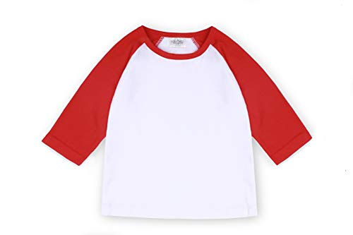 - Cloudcreator Toddler Baby Girls Boys 3/4 Sleeve Shirts Raglan Shirt Baseball Tee Cotton T-Shirt (Red&White, 1-2 Years)
