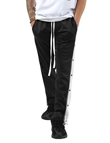 Hat and Beyond Mens Stripe Button Accent Stretch Slim Fit Track Pants (tp0593_Black, Small)]()