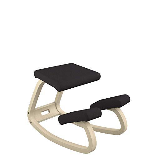 Varier Variable Balans Original Kneeling Chair Designed by Peter Opsvik (Black Revive Fabric with Natural Ash Base)