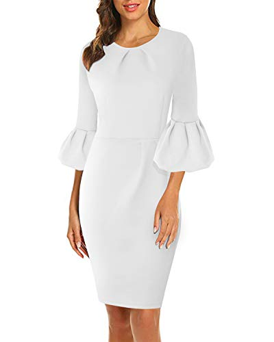 (VIUVIU Womens Flounce Bell Sleeve Pleated Cocktail Bodycon Dress Office Work Casual Pencil Party Dresses (XL, White))