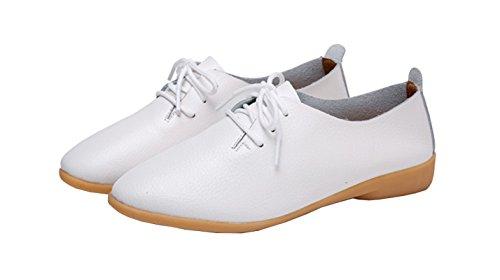 (WenHong Women's Shoe Classic Lace Up Dress Low Flat Heel Oxford White)