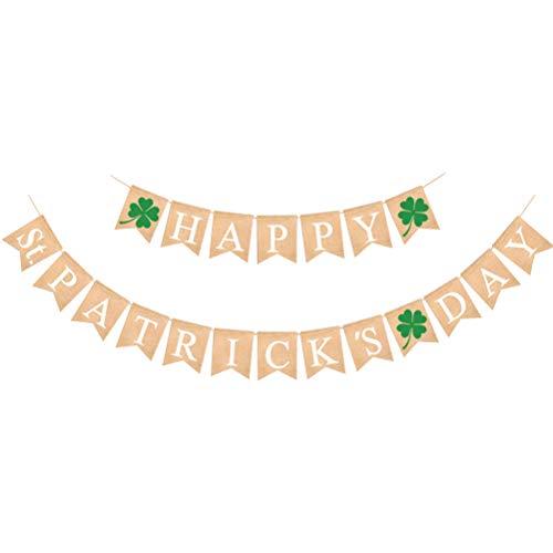 Happy St Patrick's Day Banner Shamrock Four-leaf Clover