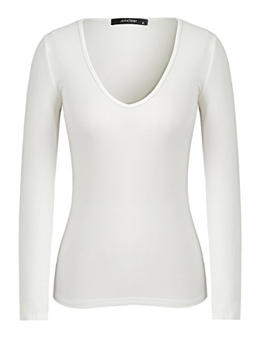 Mixfeer Women's Deep V Neck T-shirt Long Sleeve Sexy Slim Fitted Tops Tees