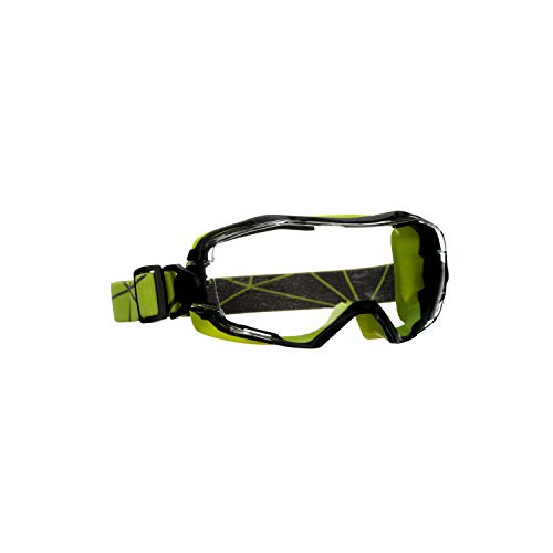 3M GoggleGear 6000 Series Safety Goggle, Green Shroud, Scotchgard Anti-Fog Coating, Clear Anti-Scratch Lens ()