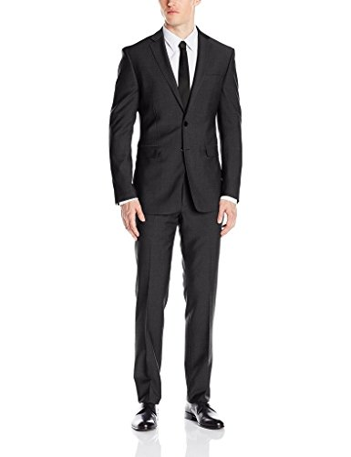 Loriano Men's LTS1001 2-Piece Single Breasted Solid Suit Set. Slim Fit - Charcoal - 42R (Poly Rayon Button 2 Suit)