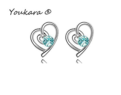 Youkara Heart-shaped Blue Bracelet Earings and Necklace Sets Woman Silver Pendant
