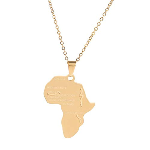 Leiothrix Africa Map Necklace Engraved Dainty Geometry Pendant Chain Jewelry Simple Necklaces for Women and Girls (Africa Map -