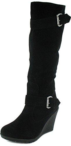 Damen/Damen Schwarz Langes Bein Stiefel Mit 8.5Cm Keilabsatz - Schwarz - UK GRÖßEN 3-9