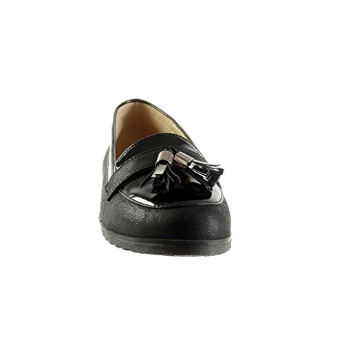 Angkorly - Chaussure Mode Mocassin slip-on femme frange pom-pom verni Talon plat 1.5 CM - Noir