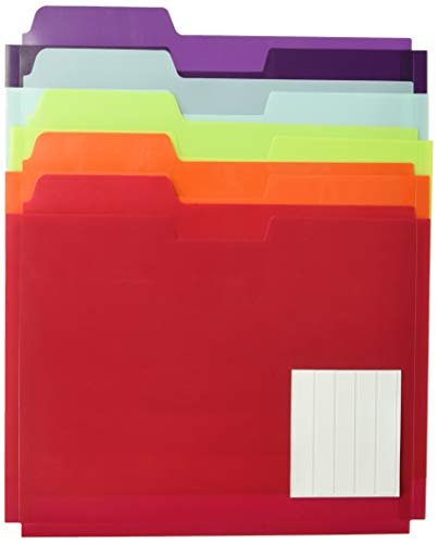 Globe-Weis Poly File Folder Pockets, Letter Size, Assorted Colors, 5 Pockets per Pack (83999)