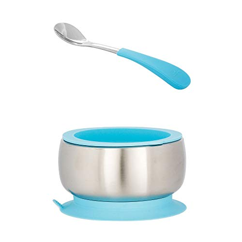 Avanchy Stainless Steel Baby Bowl with Spoon + Air Tight Lid Combo, Toddler, Kid, Child Suction Bowl + Spoon. 18/8, BPA Free, BPS Free, Lead Free and Phthalate Free. (Infant, Blue