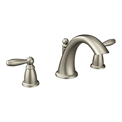 Moen T4943BN Brantford Two-Handle Low-Arc Roman Tub Faucet without Valve, Brushed Nickel