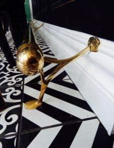 Combination Bracket Style Brass Foot Rest 14 ft Complete 2 OD Brass Foot Rail Kit