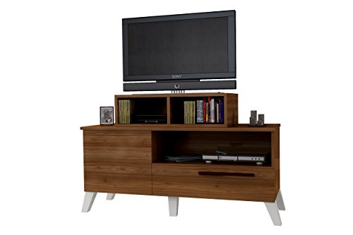 Wood Tv Stand By CLSKN: White Walnut Table For Flat Screen Television Set – Wooden Tv Furniture With Two Protective Cabinets And A Console Storage – Stylish Design Up to 48""
