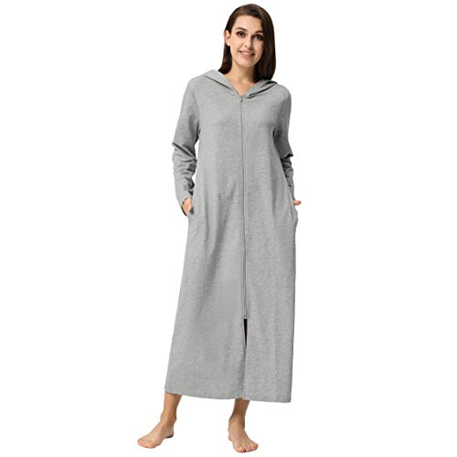 Robes for Women Bridal Plus Size Pajama Comfy Zipper House Wear Grey XXL (Long Zip Coat)