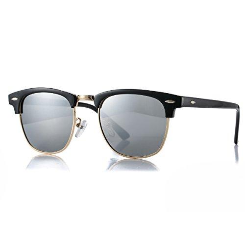 AZORB Polarized Sunglasses Men Women Semi-Rimless Frame Sun Glasses (Black/Silver Mirrored, 51)