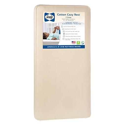 Sealy Baby Cotton Cozy Rest 2-Stage Dual Firmness Waterproof Standard Toddler & Baby Crib Mattress – 204 Premium Coils…