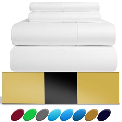 URBANHUT Egyptian Cotton Sheets Set (4 Piece) 800 Thread Count - Bedspread Deep Pocket Premium Bedding Set, Luxury Bed Sheets for Hotel Collection Soft Sateen Weave (Queen, White)