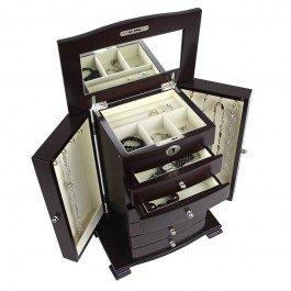 Antiqued Espresso Finish - Petrus Big Bear Upright Jewelry Box - Espresso