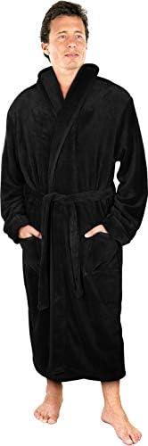 NY Threads Luxurious Men's Shawl Collar Fleece Bathrobe Spa