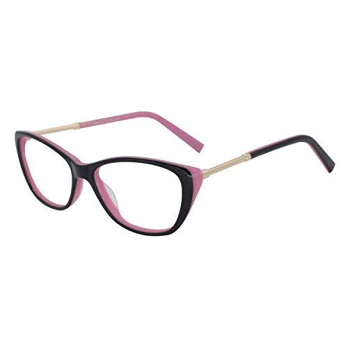 Thin TR90 Rectangular Womens Fashion Anti Blue-Ray Reading Glasses1.0 1.5 2.0 2.5 3.0 (E-Black/Pink, 4.0) ()