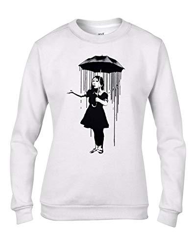 Banksy Nola Umbrella Girl Graffiti Women's Sweatshirt Jumper (XL, White)