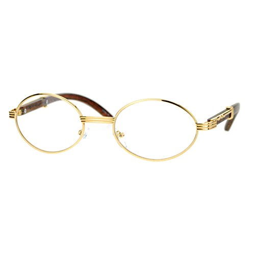 216ef4ad33c1 Amazon.com  Clear Lens Eyeglasses Unisex Vintage Fashion Oval Frame Glasses  Yellow Gold  Clothing