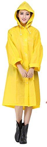 Sister Amy Women's Lightweight Hooded Raincoat Outdoor Cover Long Rainwear Yellow M