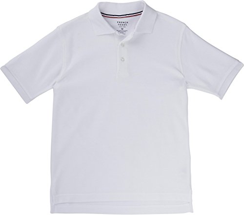 French Toast School Uniform Boys Short Sleeve Pique Polo Shirt, White, X-Large - Polo Kids Outlet