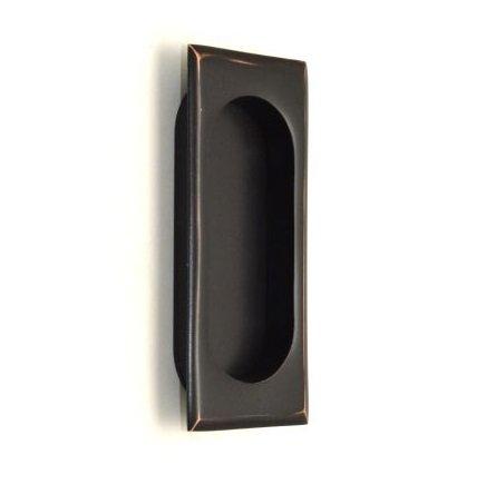 (Emtek 2201 4 Inch High Solid Brass Rectangular Flush Pull for Sliding Doors, Oil Rubbed)
