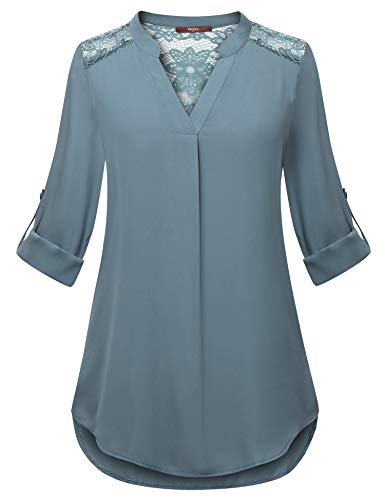 Gaharu Chiffon Tunics for Women 3/4 Sleeve Tshirts Mandarin Collar Office Blouse Trapeze Pleat Easy Fit Pullover Swing Hollow Out Lace Top Blue Grey,XL