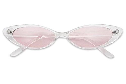 Mini Vintage Retro Extra Narrow Oval Round Skinny Cat Eye Sun Glasses Clout Goggles (Crystal Clear Frame   Pink) (Vintage Clear Crystal)