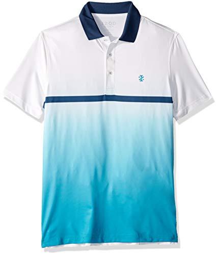 IZOD Men's Golf Fashion Short Sleeve Polo Shirt, Bright White, Large