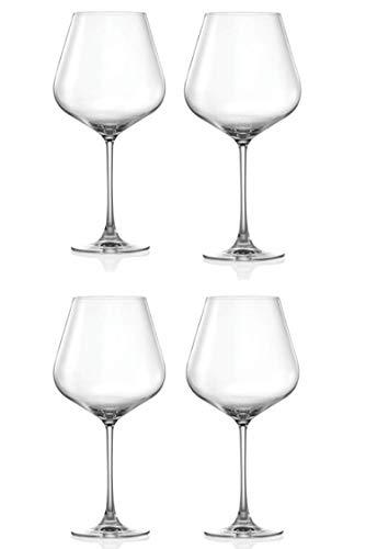 Set of 4 Over Sized Elegant Crystal Burgundy 30 oz Wine Glasses - Dishwasher Safe - Lightweight, Durable and Scratch Resistant Titanium Crystal Hong Kong Hip