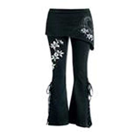 (Women Black Embroidered Casual Bandage Flares Punk Lace Up Bell Bottom Leggings)