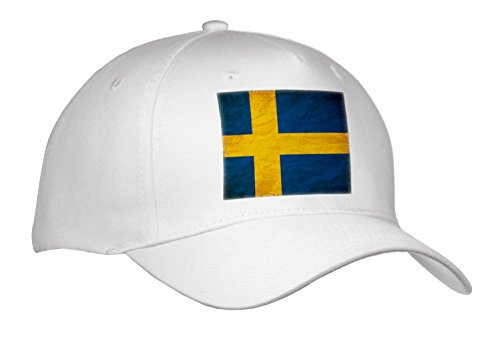3dRose Sven Herkenrath Flags - Swedish Flag Old Look Trendy Work - Caps - Adult Baseball Cap (Cap_255830_1)