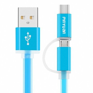 USB-C Cable,USB-C / Micro USB 2-in-1 Duo Cable Pinyuan Micro USB Type-C Duo Cable with Type C Convert Adapter,Charging Data Sync Cable for both micro USB Devices and Type-C Devices (3.3ft / 1m Blue)