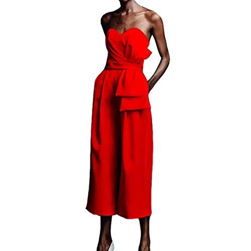 ONLY TOP Womens Boho High Waisted Lounge Split Wide Leg Palazzo Culottes Pants with Belt Red