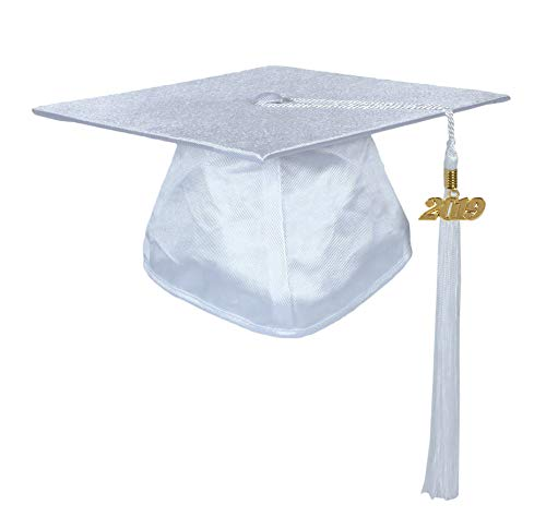 GraduationService Unisex Adults Graduation Shiny Cap With Tassel 2018 & 2019 Year Charm -