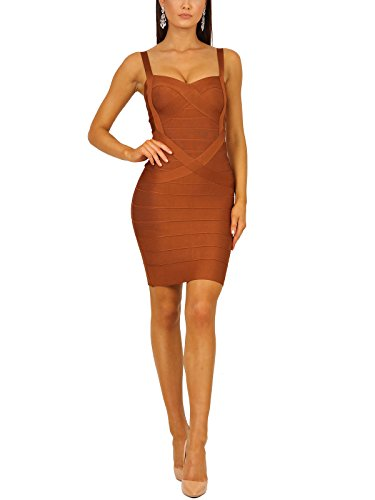 S Curve Women's Sweetheart Neckline Rayon Bodycon Bandage Dress (Medium, (Copper Curve)