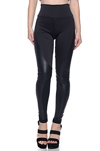 J2 LOVE Women's Junior Plus Faux Leather Side Inset Scuba Legging, 2X, Black Faux Leather Panel