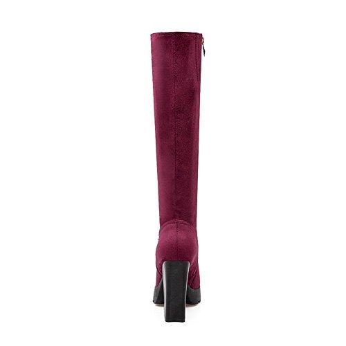 Suede amp;N Heels Claret Platform Imitated A Zipper Womens Chunky Boots W0vqAWwOa